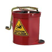 Cleera Mop Bucket Heavy Duty Plastic Foot Pedal Wringer On Wheels 15 Litre Red