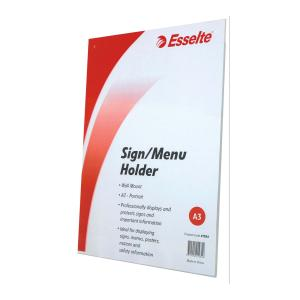 Esselte Sign Menu Holder Portrait Wall Mount A3 Clear