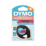 Dymo Letratag Label Printer Plastic Tape 12mm x 4m Red