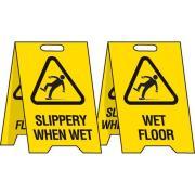 Brady Reversible Stand with Slippery When Wet/Wet Floor Progress/Wet Floor