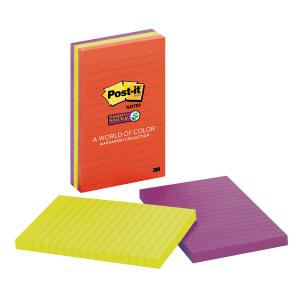 Post-It Super Sticky Recycled Notes Marrakesh Collection Lined 98 x 149mm Pack 3