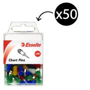Esselte 45109 Chart Pins Assorted Colours Pack 50