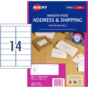 Avery Address Labels with Smooth Feed for Laser Printers - 99.1 x 38.1mm - 3500 Labels (L7163)
