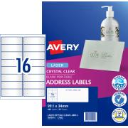 Avery Crystal Clear Address Labels for Laser Printers - 99.1 x 34mm - 400 Labels (L7562)