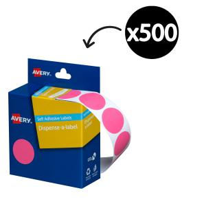 Avery Pink Circle Dispenser Labels 24mm diameter 500 Labels