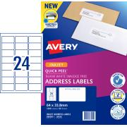 Avery Address Labels with Quick Peel for Inkjet Printers - 64 x 33.8mm - 1200 Labels (J8159)