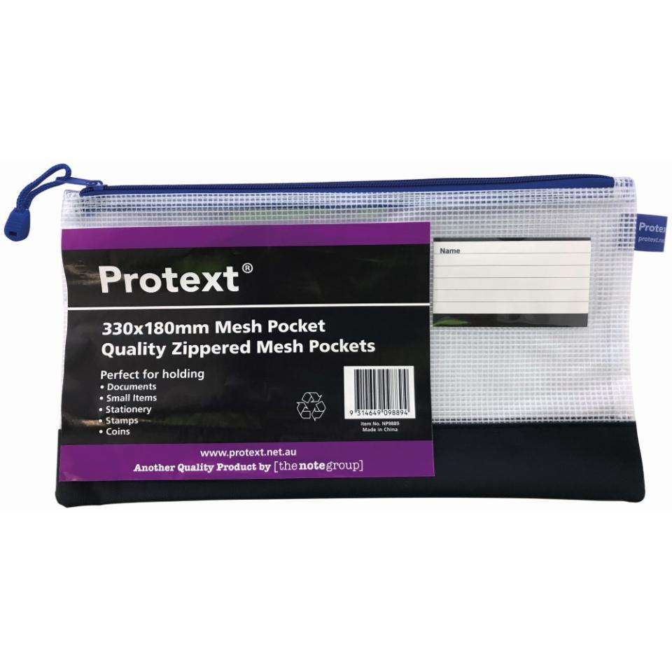 Protext Long Pencil Case Size Mesh Pouch With Note Holder