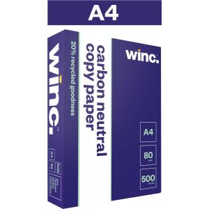Winc Copy Paper A4 Carbon Neutral 20% Recycled 80gsm White Ream 500 Box 5