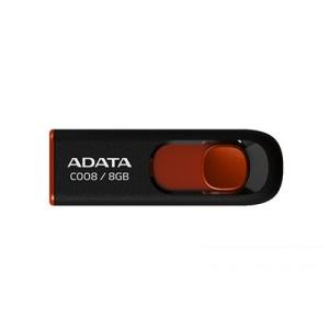 ADATA C008 Capless Sliding 8 GB USB 2.0 Flash Drive - Black