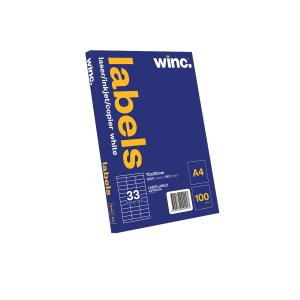 Winc Laser Labels 70 x 25mm 33 Per Sheet Pack of 100 Sheets