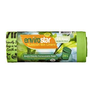Envirostar 36 Litre Green Compostable Bin Liner 18um Printed Roll 25 Carton 20