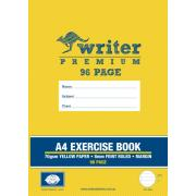 Writer Premium A4 Exercise Book 8mm Ruled/margin Yellow 96 Pages