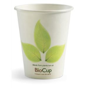 Biopak Single Wall Biocup 8Oz/270ml White Leaf Design Carton 1000