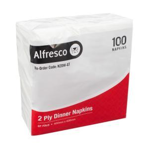 Alfresco Dinner Napkin 2 Ply 400x400mm Gt Fold White Carton 1000