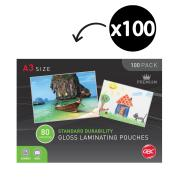 GBC A3 80 Micron Gloss Laminating Pouches Pack 100