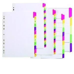 Marbig Dividers Manilla Plastic Fluoro Tab A4 White Jan-Dec 12 Tab