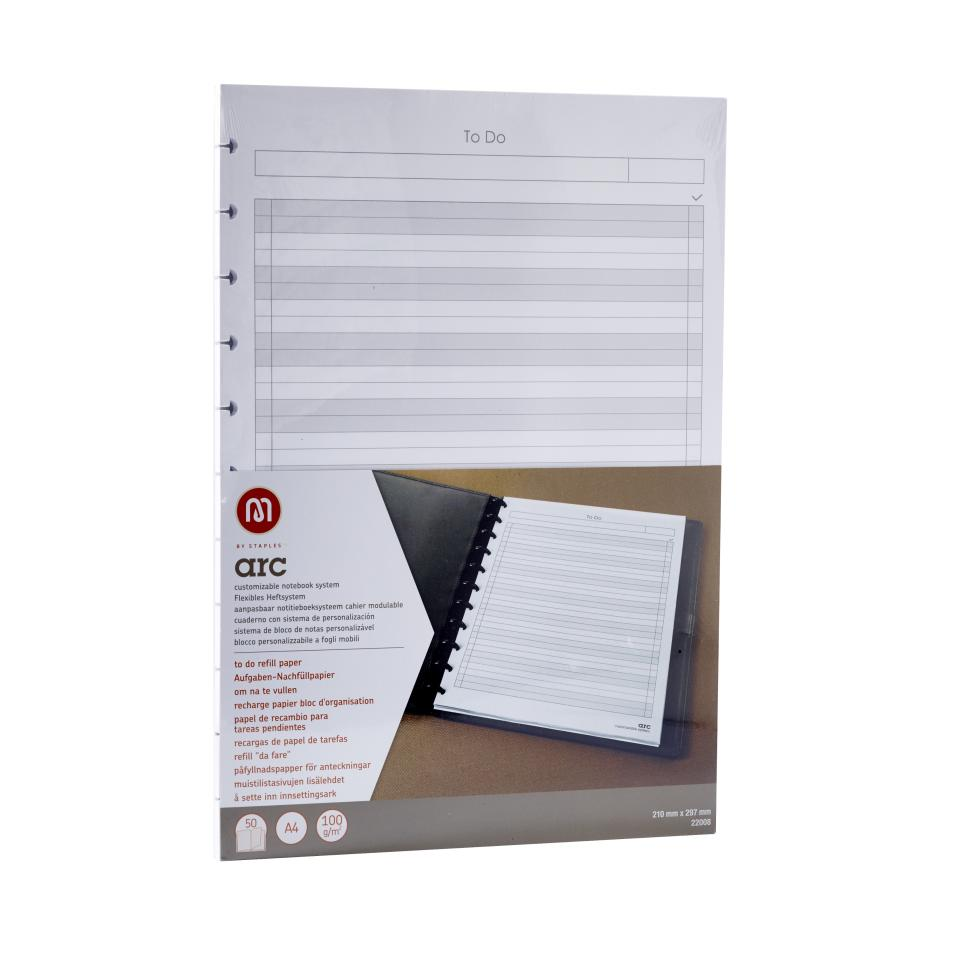 M By Staples ARC System A5 To-Do Ruled Paper White 50 Sheet Refill