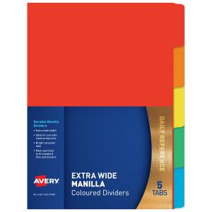Avery Extra Wide Dividers - 5 Tabs - Bright Multi-coloured