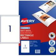 Avery Matte Photo Quality Labels for Laser Printers - 199.6 x 289.1mm - 20 Labels (L7167CL)