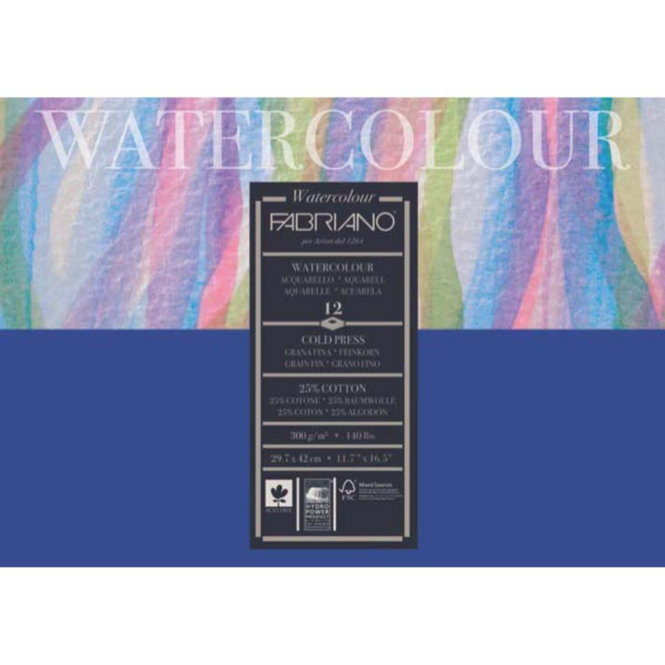 Fabriano A3 300gsm 25% Cotton Cold Press Studio Water Colour Paper Pack 12
