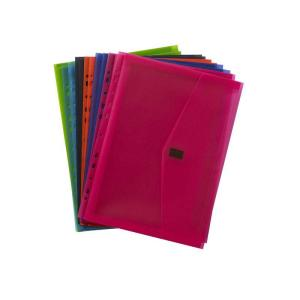 Winc Vivid Translucent A4 Document Wallet with Binder Strip Assorted Pack 12