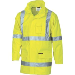 DNC 3995 High Visibility Day Night PVC Polyester Rain Jacket with  Reflective Tape 2 In 1 Yellow