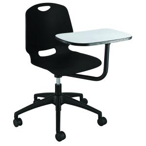 ProEd Quest Student Chair 5 Star on Castors Nylon Base with Swing Tablet and Gas Lift Black
