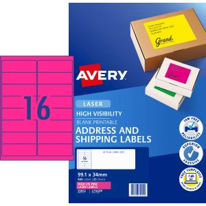 Avery Fluoro Pink High Labels for Laser Printers - 99.1 x 34mm - 400 Labels (L7162FP)