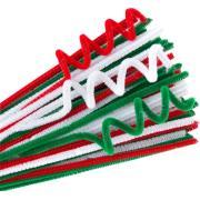 Ec Chenille Stems 300x6mm Green/red/white Pack Of 100