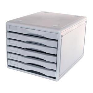 Metro 6 Drawer Unit B4 Desk Storage Light Grey