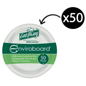 Castaway Enviroboard Round Side Paper Plates 180X180X17mm White Pack 50