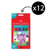 Faber Castell Jumbo Coloured Pencils plus Sharpener Pack 12