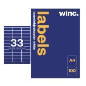 Winc Laser Labels 70 x 25mm 33 Per Sheet Pack of 100 Sheets