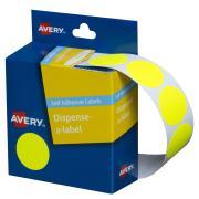 Avery Fluoro Yellow Circle Dispenser Labels - 24mm diameter - 350 Labels