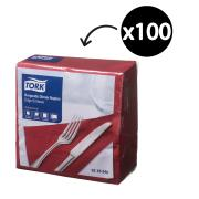 Tork Dinner Napkin Edge Emboss 2 Ply Quarterfold 390X390mm Burgundy Pack 100