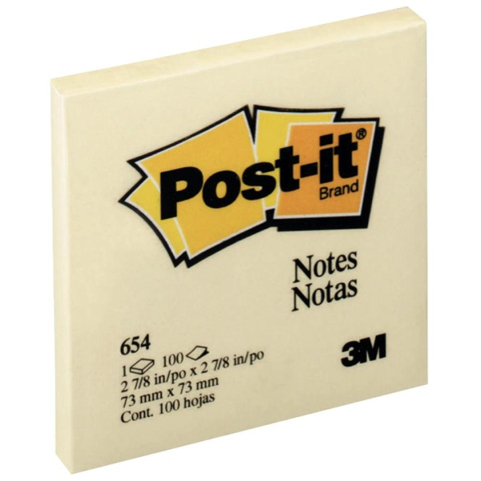Post-it Notes 654 76x76mm Yellow 100 Sheets