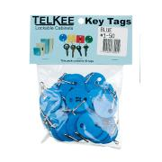 Telkee Key Tags Round Numbered 1-50 Blue Pack 50