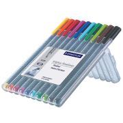 Staedtler Triplus Fineliner Pen Extra Fine 03mm Assorted Colour Multi-Pack Set 10