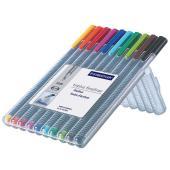 Staedtler Triplus Fineliner Pen Extra Fine 0.3mm Assorted Colour Multi-Pack Set 10