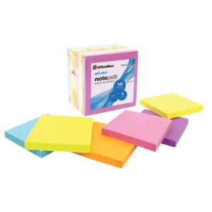 Officemax Self-stick Notes Brights 76x76mm Assorted Colours Pack Of 6