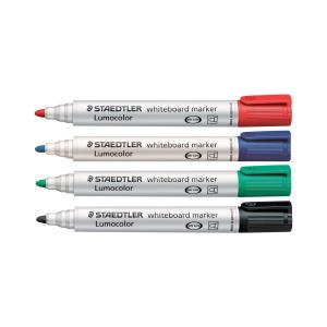 Staedtler 351 Lumocolor Whiteboard Marker Bullet Tip 2.0mm Assorted Colours Set 4