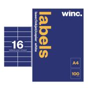 Winc Laser Labels 105x37mm 16 Per Sheet Pack of 100 Sheets