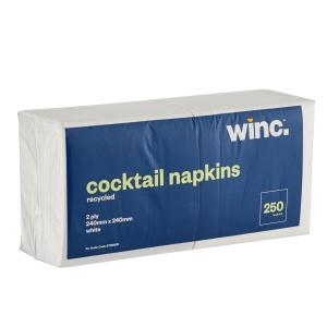 Winc Cocktail Napkins Recycled 2 Ply White 240 x 240mm Pack 250