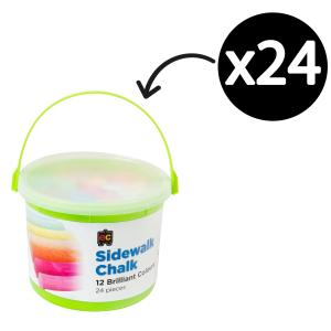 Educational Colours Chalk Thick Assorted Bright Colours Bucket 24