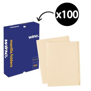 Winc Manilla Folder Foolscap Buff Box 100