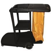 Cleera Janitors Trolley 3 Tier With Lid 130 X 55 X 100cm Black