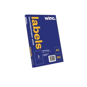 Winc Laser Labels 210x297mm 1 Per Sheet Pack of 100 Sheets