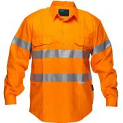 Prime Mover MC191 100% Cotton Hi Vis Closed Front Drill Shirt With Tape Long Sleeve